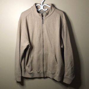 LL bean brown full zip sweater size large